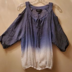BCX Cold Shoulder medium blue white top Size small